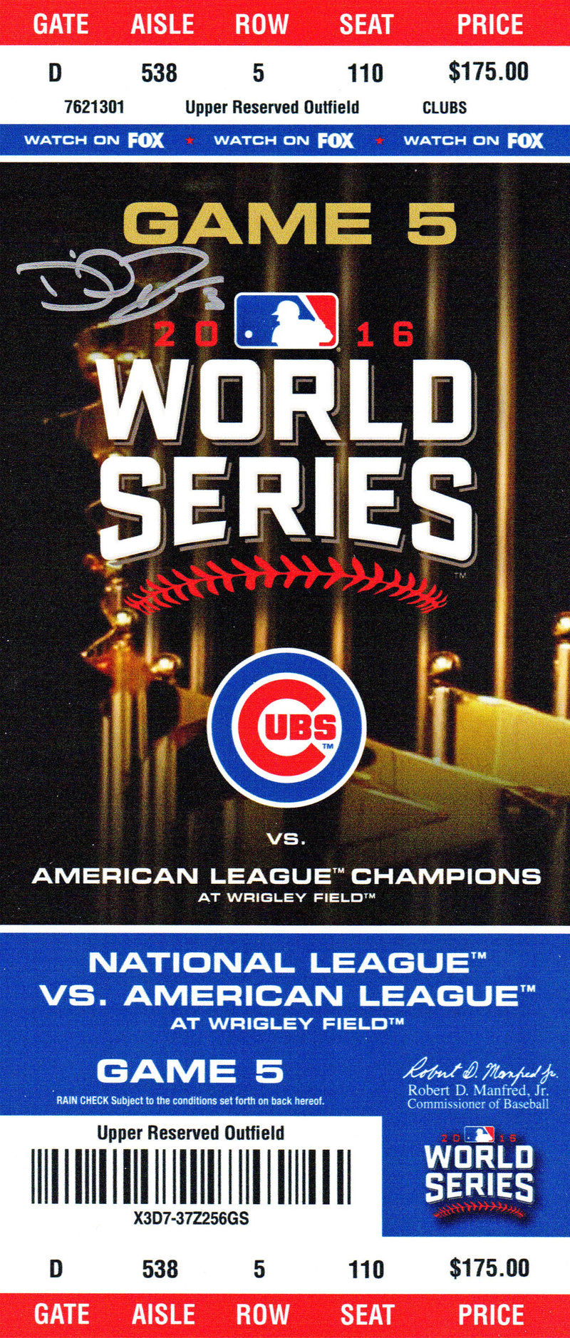 David Ross Signed Chicago Cubs 2016 World Series Game 5 4x14 Mini Mega Ticket PSM-Powers Sports Memorabilia