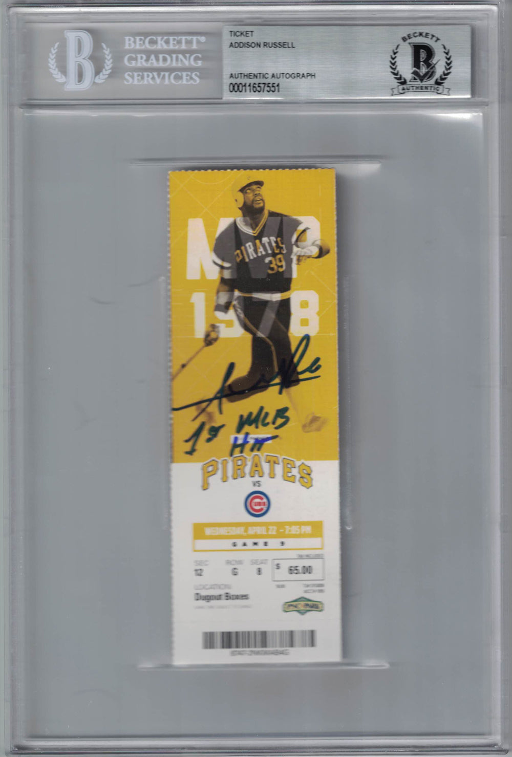 Addison Russell Autographed Chicago Cubs Ticket 1st MLB Hit BAS Slab PSM-Powers Sports Memorabilia