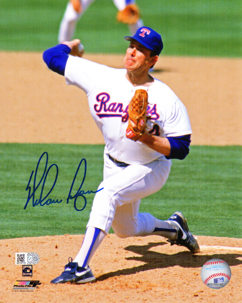 Nolan Ryan Signed Texas Rangers Pitching Action 8x10 Photo PSM-Powers Sports Memorabilia