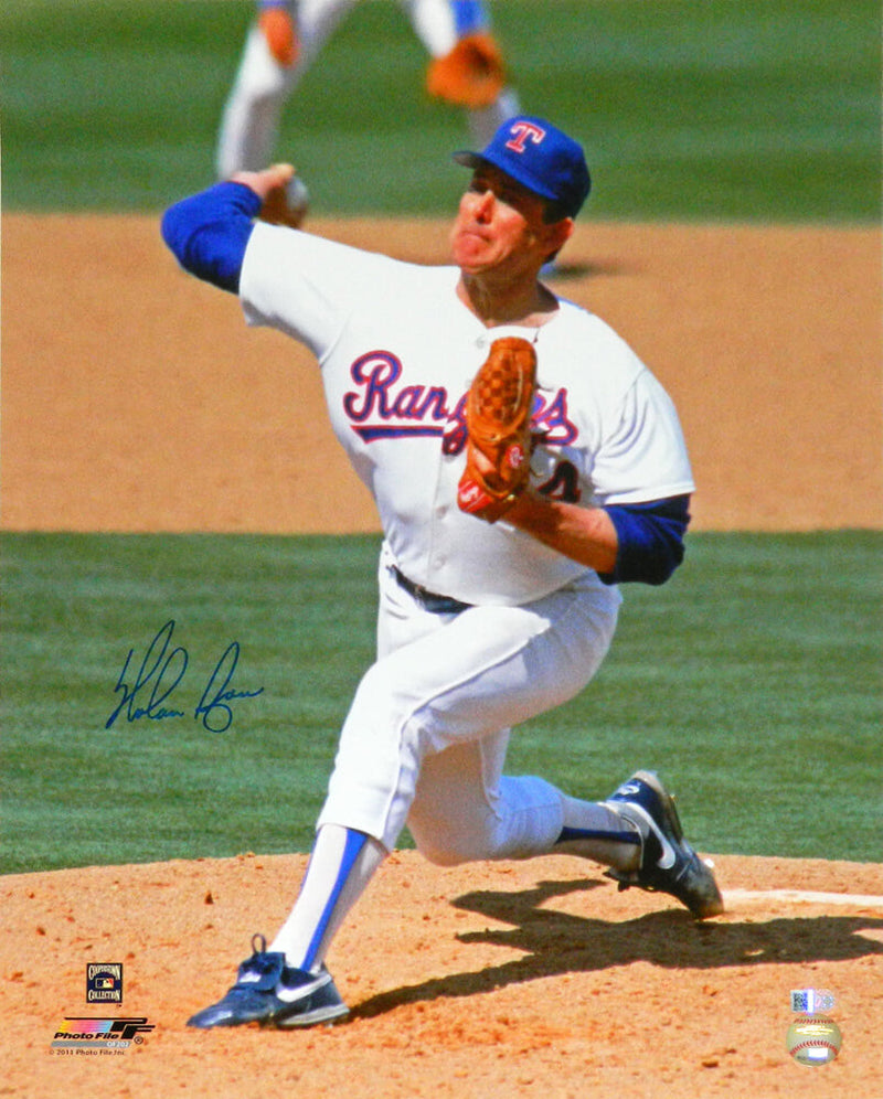 Nolan Ryan Signed Texas Rangers Pitching Action 16x20 Photo PSM-Powers Sports Memorabilia
