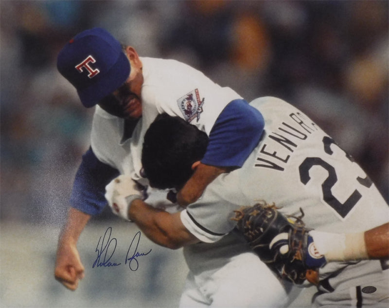 Nolan Ryan Autographed Texas Rangers 16x20 Photo (Fight) DA PSM-Powers Sports Memorabilia