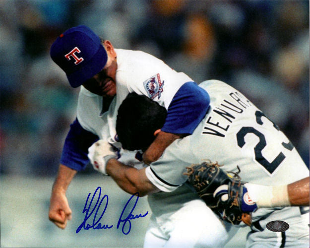 Nolan Ryan Autographed Fight vs Ventura Texas Rangers 8x10 Photo PSM-Powers Sports Memorabilia