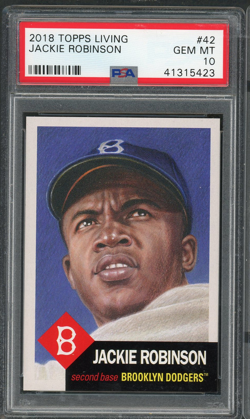 Jackie Robinson Brooklyn Dodgers 2018 Topps Living Baseball Card #42 Graded PSA 10 GEM MINT-Powers Sports Memorabilia