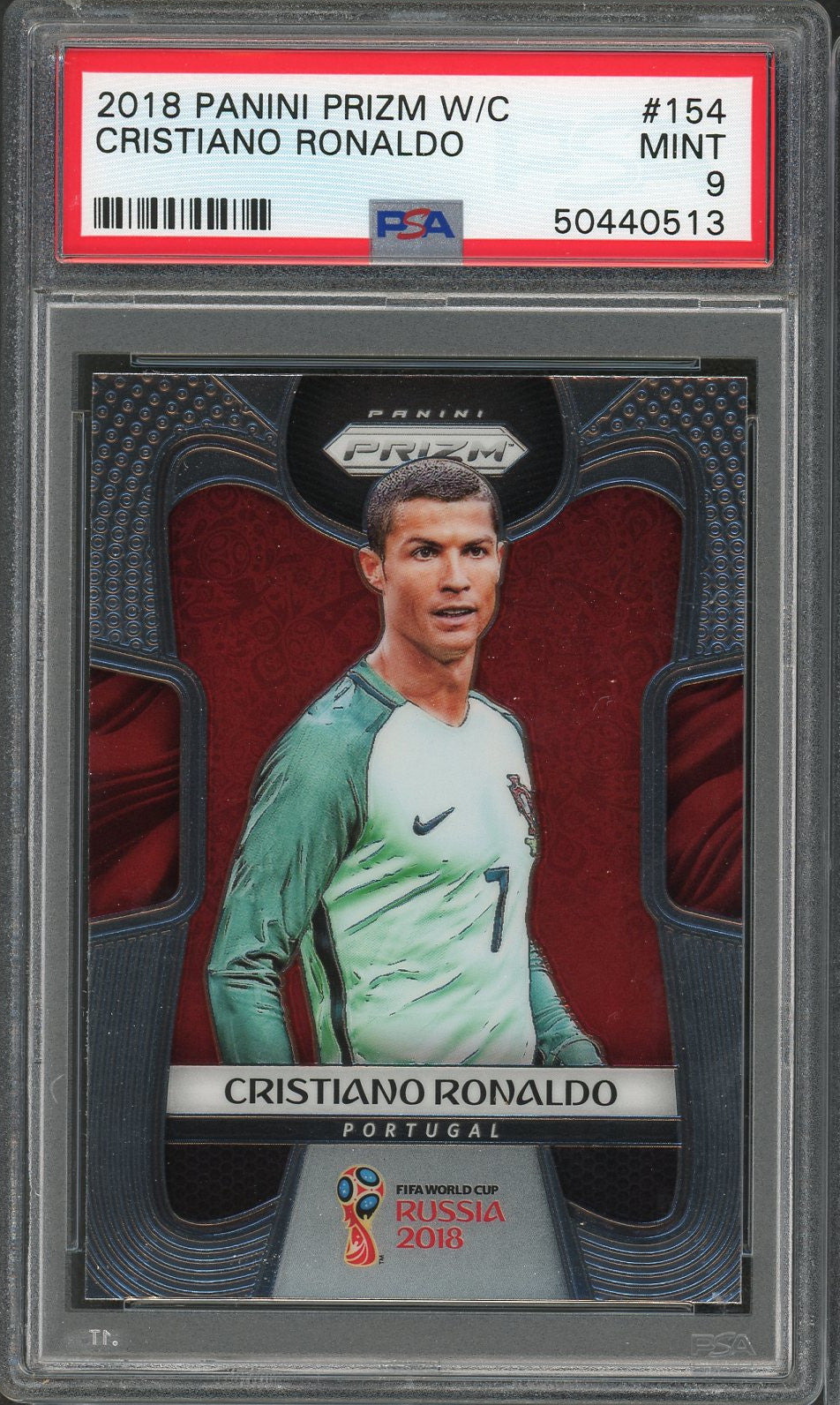 Cristiano Ronaldo Portugal 2018 Panini Prizm World Cup Soccer Card #154 Graded PSA 9 MINT-Powers Sports Memorabilia