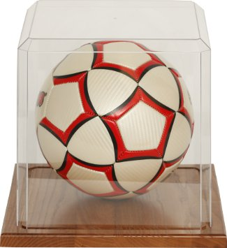 Soccer ball unsigned Display Case with Wood Base PSM-Powers Sports Memorabilia