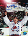 Joe Sakic Autographed Colorado Avalanche 8x10 Photo Lifting Cup PSM-Powers Sports Memorabilia
