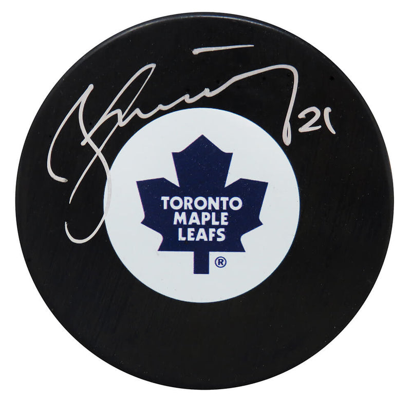 Borje Salming Signed Toronto Maple Leafs Logo Hockey Puck PSM-Powers Sports Memorabilia