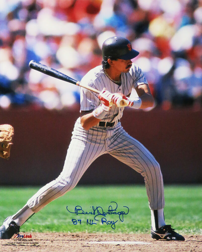 Benito Santiago Signed San Diego Padres Action 16x20 Photo w/87 NL ROY PSM-Powers Sports Memorabilia