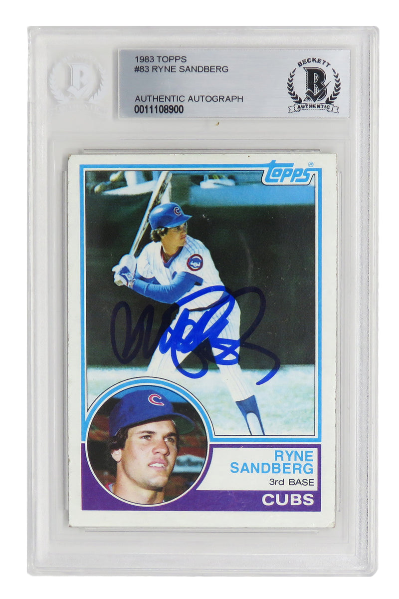 Ryne Sandberg Signed Chicago Cubs 1983 Topps Baseball Rookie Card #83 - (Beckett Encapsulated) PSM-Powers Sports Memorabilia