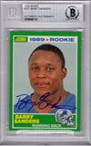 Barry Sanders Signed Detroit Lions 1989 Score Rookie Card #257 - (Beckett Encapsulated) PSM-Powers Sports Memorabilia