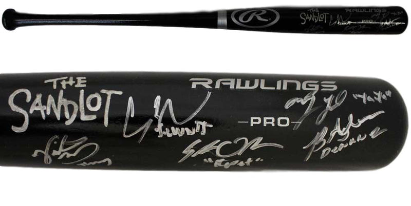 The Sandlot Autographed/Signed Black Rawlings Baseball Bat 5 Sigs BAS PSM-Powers Sports Memorabilia