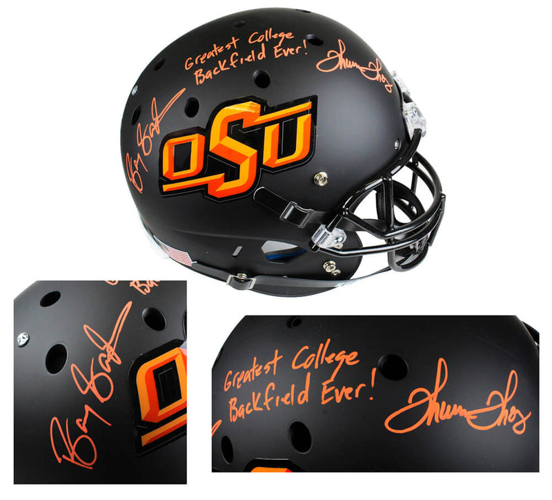 Barry Sanders & Thurman Thomas Signed Oklahoma State Cowboys Black Schutt Full-Size Replica Helmet w/Greatest College Backfield Ever PSM-Powers Sports Memorabilia