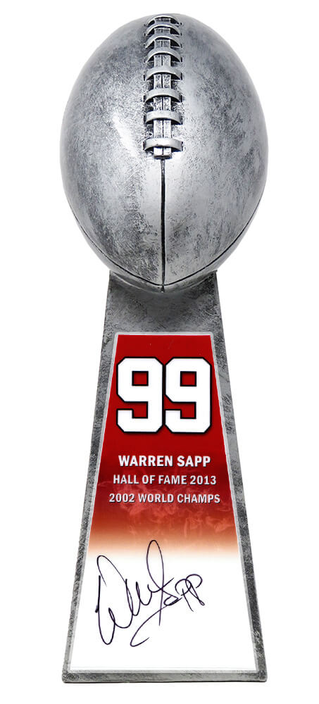 Warren Sapp Signed Football World Champion 15 Inch Replica Silver Trophy PSM-Powers Sports Memorabilia