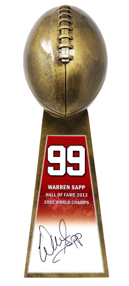 Warren Sapp Signed Football World Champion 15 Inch Replica Gold Trophy PSM-Powers Sports Memorabilia
