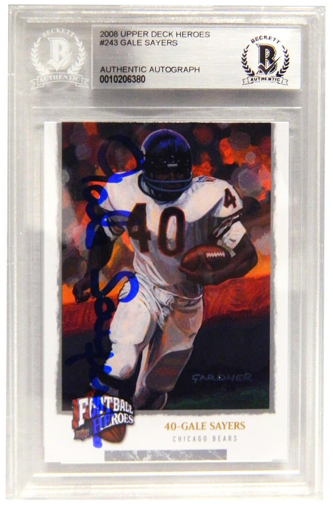 0dee376d0 Gale Sayers Signed Chicago Bears 2008 Upper Deck Heroes Football Trading  Card  243 - (