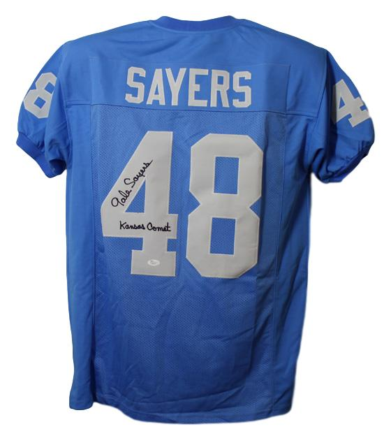 Gale Sayers Autographed Kansas Jayhawks Size XL Jersey Kansas Comet JSA PSM-Powers Sports Memorabilia