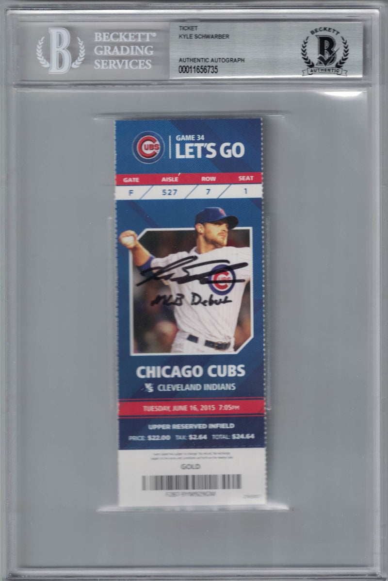 Kyle Schwarber Autographed/Signed Chicago Cubs Ticket MLB Debut BAS Slab PSM-Powers Sports Memorabilia