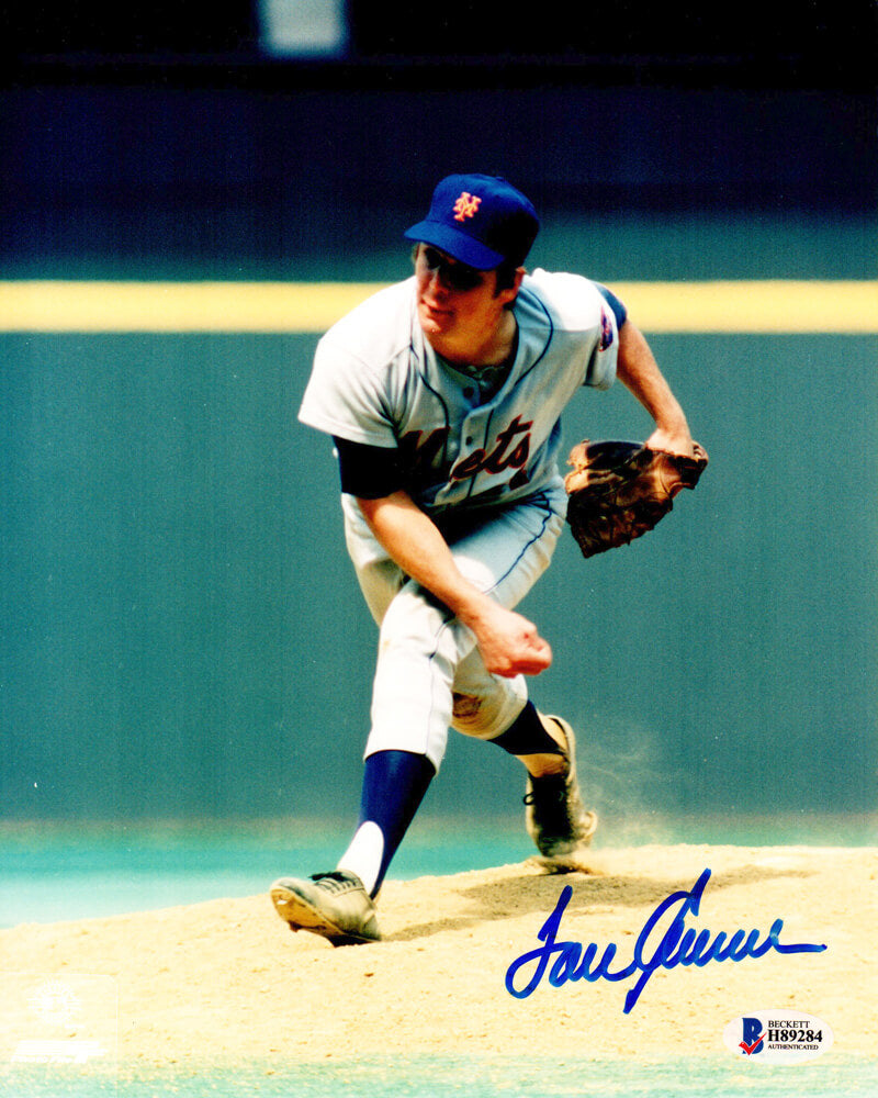 Tom Seaver Signed New York Mets Pitching Action 8x10 Photo PSM-Powers Sports Memorabilia