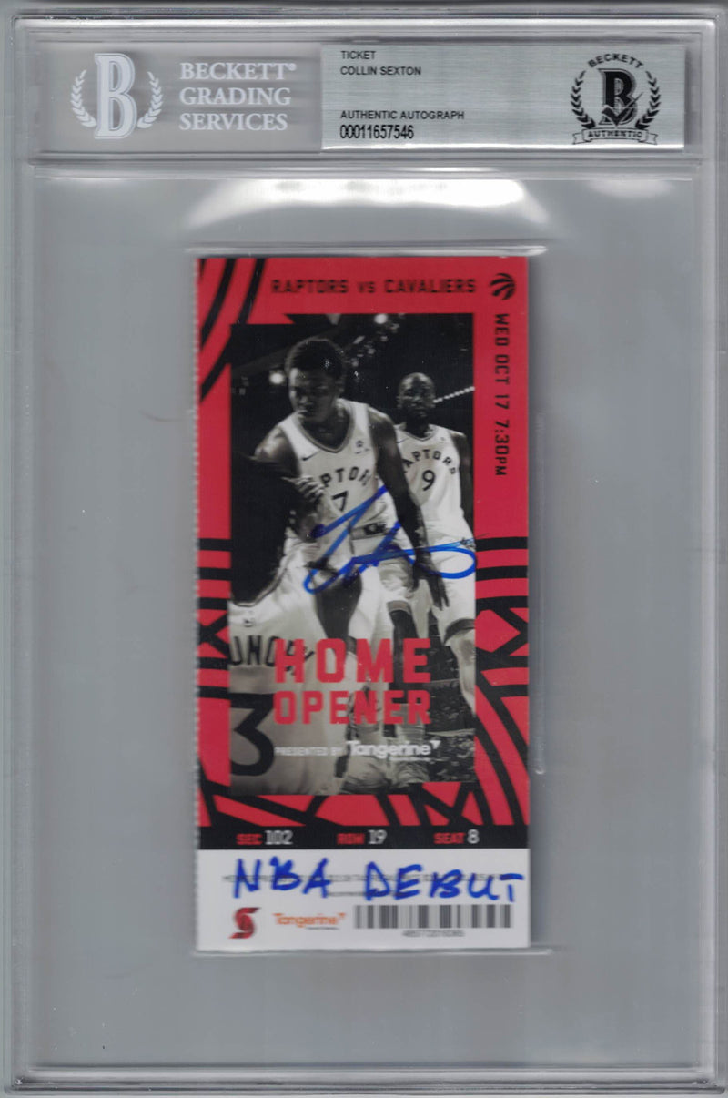Collin Sexton Autographed Cleveland Cavaliers Ticket NBA Debut BAS Slab PSM-Powers Sports Memorabilia