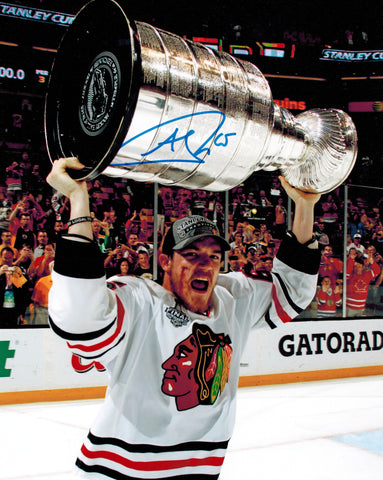Andrew Shaw Signed Chicago Blackhawks 2013 Stanley Cup Trophy Bloody Face 8x10 Photo