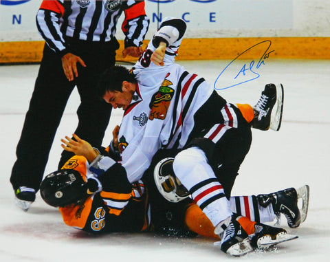 Andrew Shaw Signed Blackhawks 2013 Stanley Cup Finals Fight 16x20 Photo