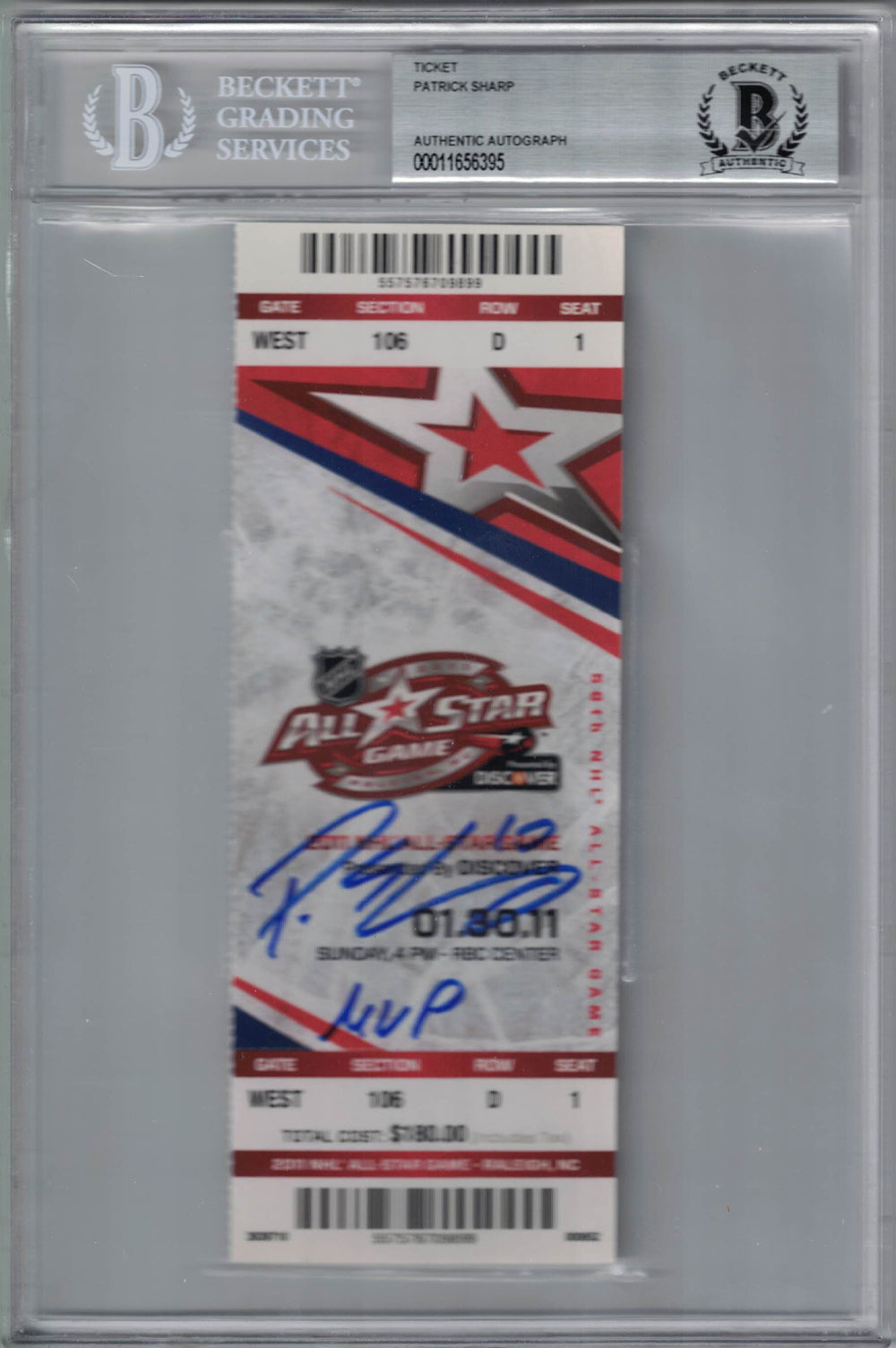 Patrick Sharp Autographed 2011 NHL All Star Game Ticket MVP BAS Slab PSM-Powers Sports Memorabilia