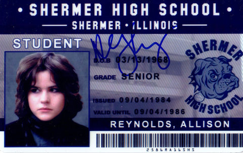 Ally Sheedy Signed The Breakfast Club Allison Reynolds Shermer High School ID Card PSM-Powers Sports Memorabilia