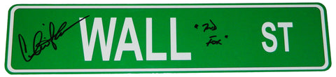 Charlie Sheen Signed Wall ST. 4x18 Green Aluminum Street Sign w/Bud Fox PSM-Powers Sports Memorabilia