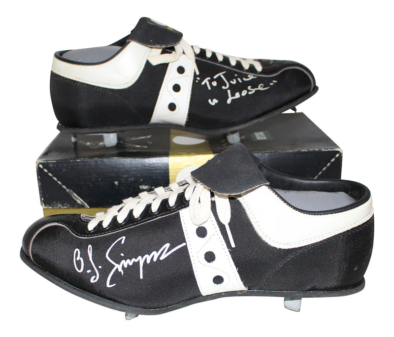 O.J. Simpson Autographed/Signed Buffalo Bills Black Spot-bilt Cleats JSA PSM-Powers Sports Memorabilia