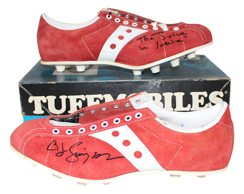 O.J. Simpson Autographed/Signed Buffalo Bills Red Tuffmobiles Cleats JSA PSM-Powers Sports Memorabilia