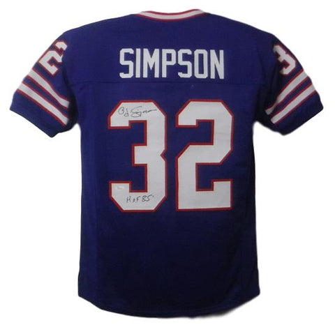 OJ Simpson Autographed Buffalo Bills Custom Size XL Blue Jersey HOF JSA PSM-Powers Sports Memorabilia