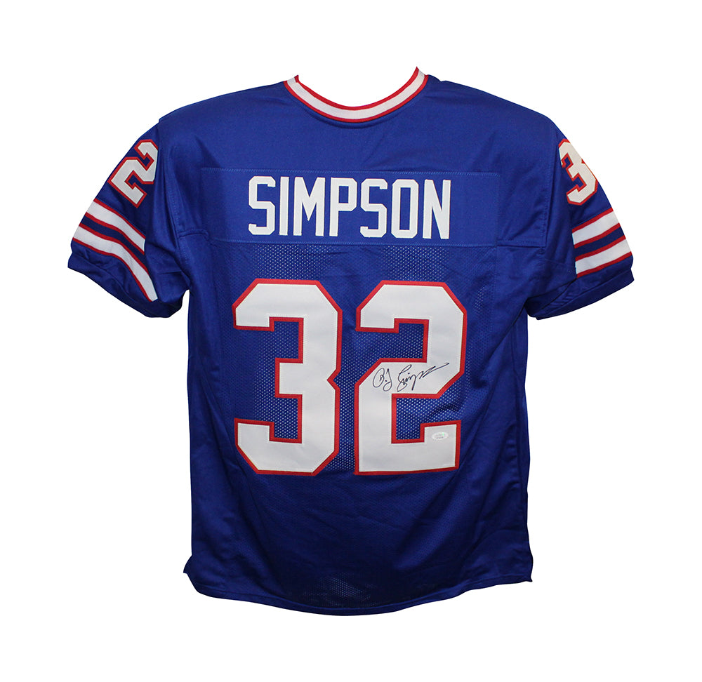 O.J. Simpson Autographed/Signed Pro Style Blue XL Jersey JSA PSM-Powers Sports Memorabilia