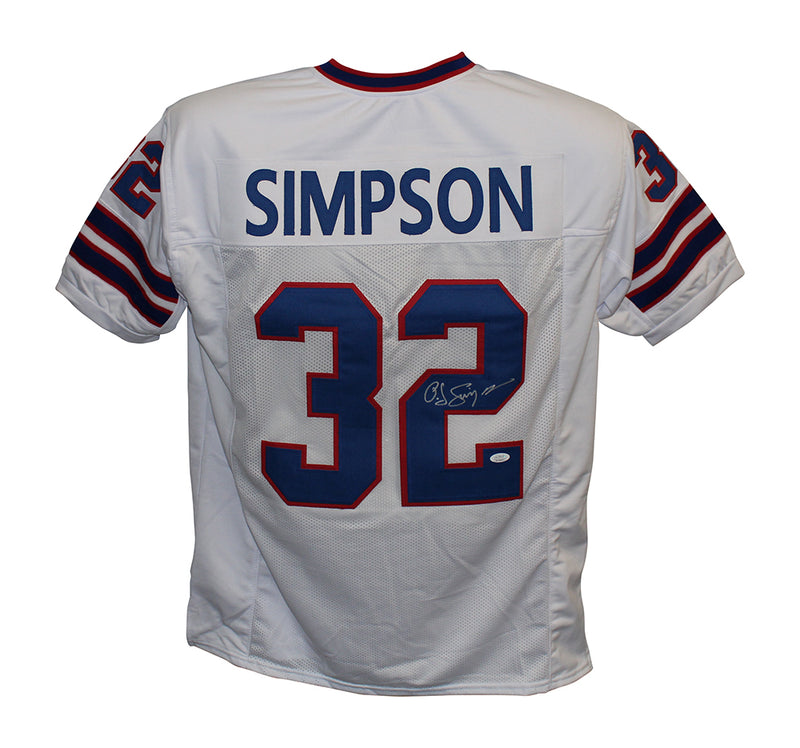 O.J. Simpson Autographed/Signed Pro Style White XL Jersey JSA PSM-Powers Sports Memorabilia