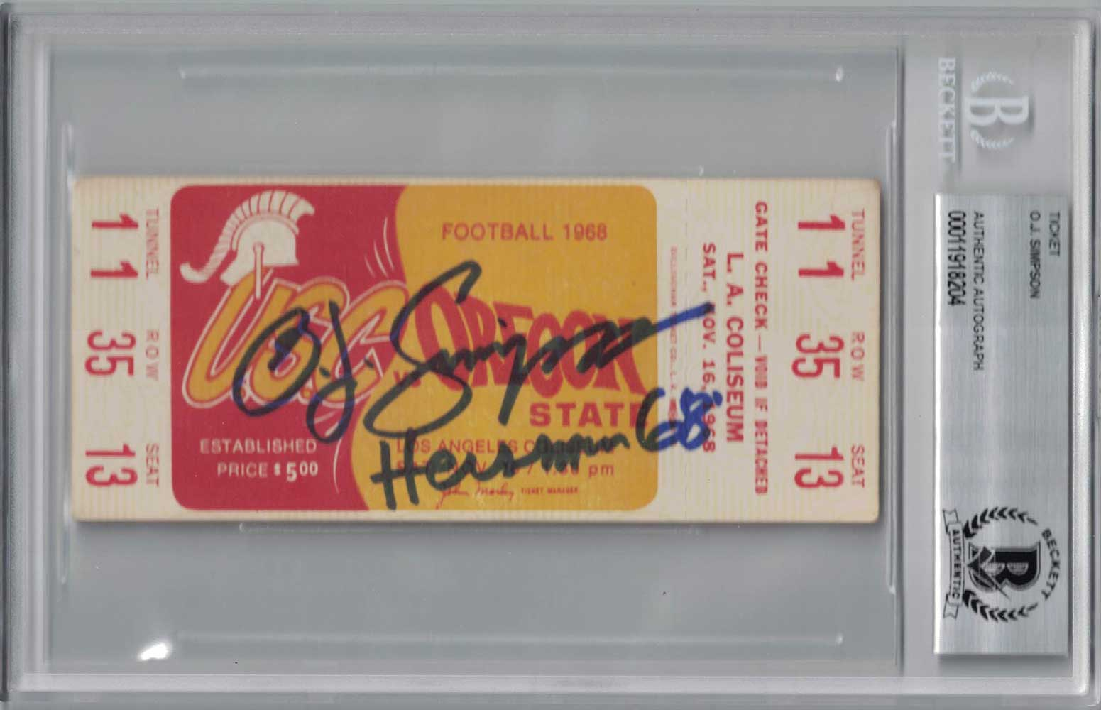 O.J. Simpson Signed 1968 USC Trojans vs Oregon State Ticket Seat 13 BAS PSM-Powers Sports Memorabilia