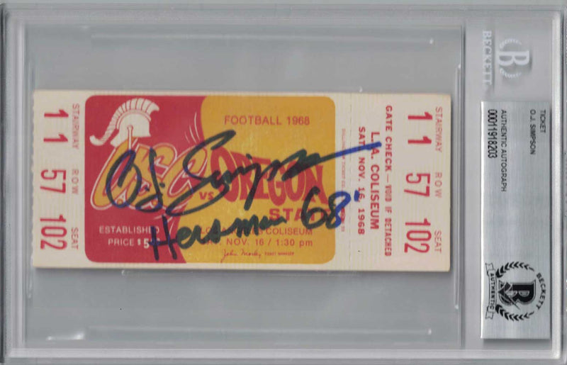 O.J. Simpson Signed 1968 USC Trojans vs Oregon State Ticket Seat 102 BAS PSM-Powers Sports Memorabilia