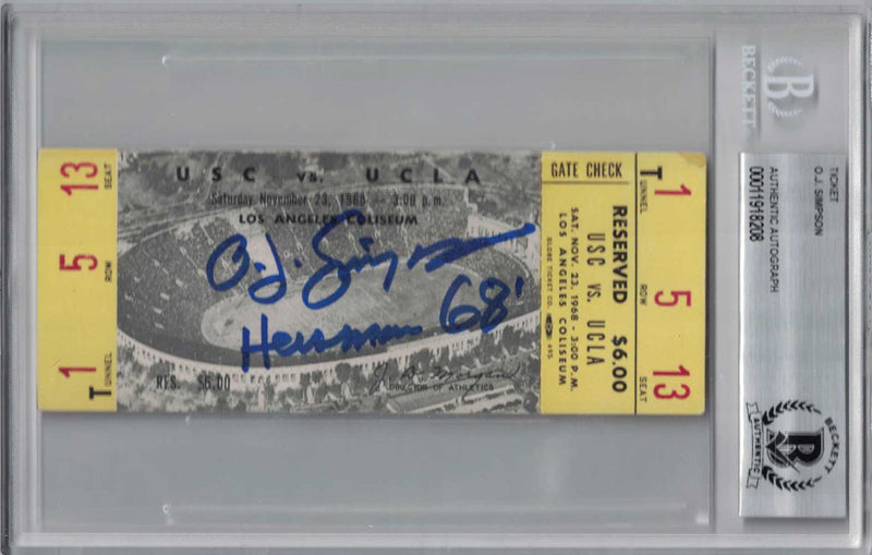 O.J. Simpson Signed 1968 USC Trojans vs UCLA Bruins Ticket Seat 13 BAS PSM-Powers Sports Memorabilia