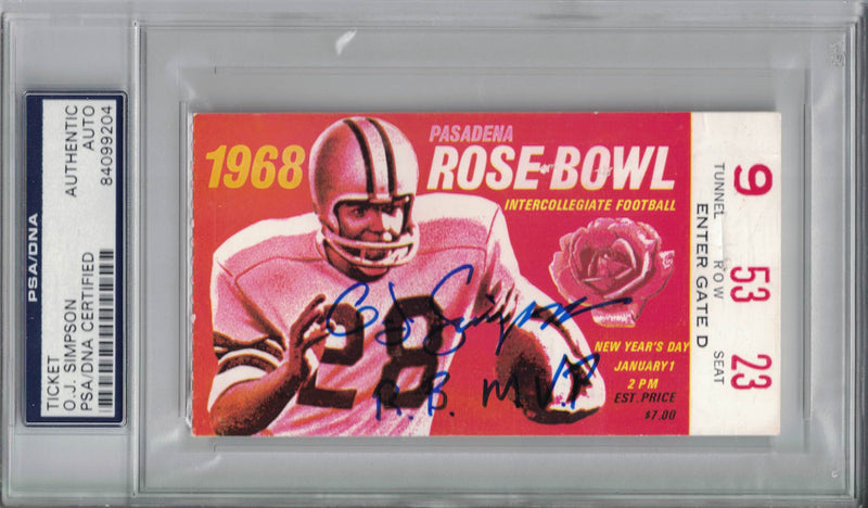 O.J. Simpson Signed USC Trojans 1968 Rose Bowl Ticket RB MVP PSA Slab PSM