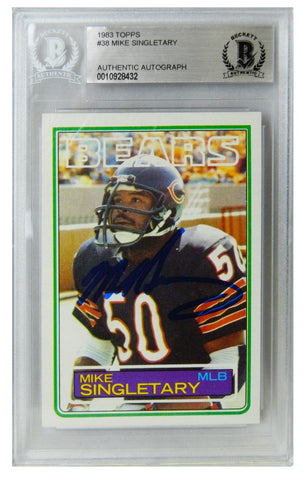 Mike Singletary Signed Bears 1983 Topps Rookie Card #38 (Beckett Encapsulated) PSM-Powers Sports Memorabilia