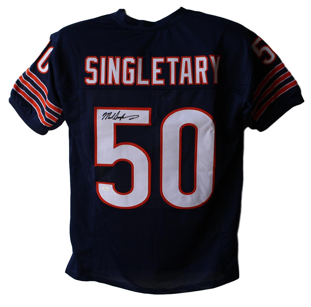 Mike Singletary Autographed/Signed Chicago Bears Blue XL Jersey JSA PSM-Powers Sports Memorabilia