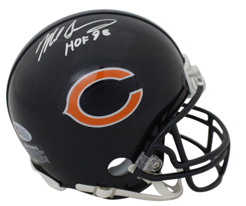 Mike Singletary Autographed/Signed Chicago Bears Mini Helmet HOF 98 BAS PSM