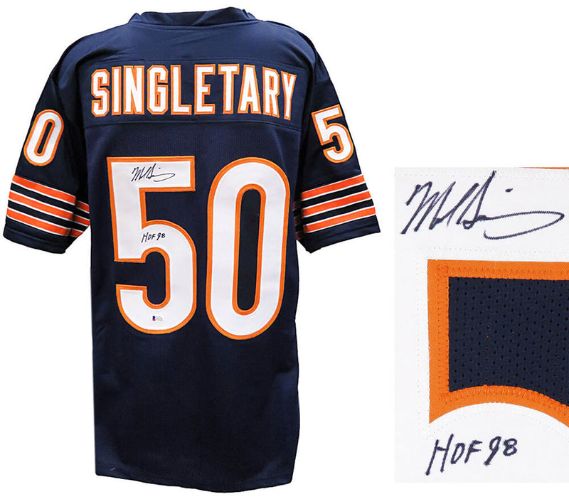 Mike Singletary Signed Navy Custom Jersey w/HOF'98 (Beckett) PSM-Powers Sports Memorabilia
