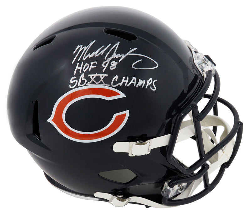 Mike Singletary Signed Chicago Bears Riddell Full Size Speed Replica Helmet w/HOF'98, SB XX Champs (JSA) PSM-Powers Sports Memorabilia