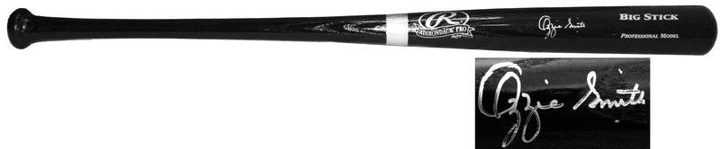 Ozzie Smith Signed Rawlings Big Stick Black Baseball Bat PSM-Powers Sports Memorabilia