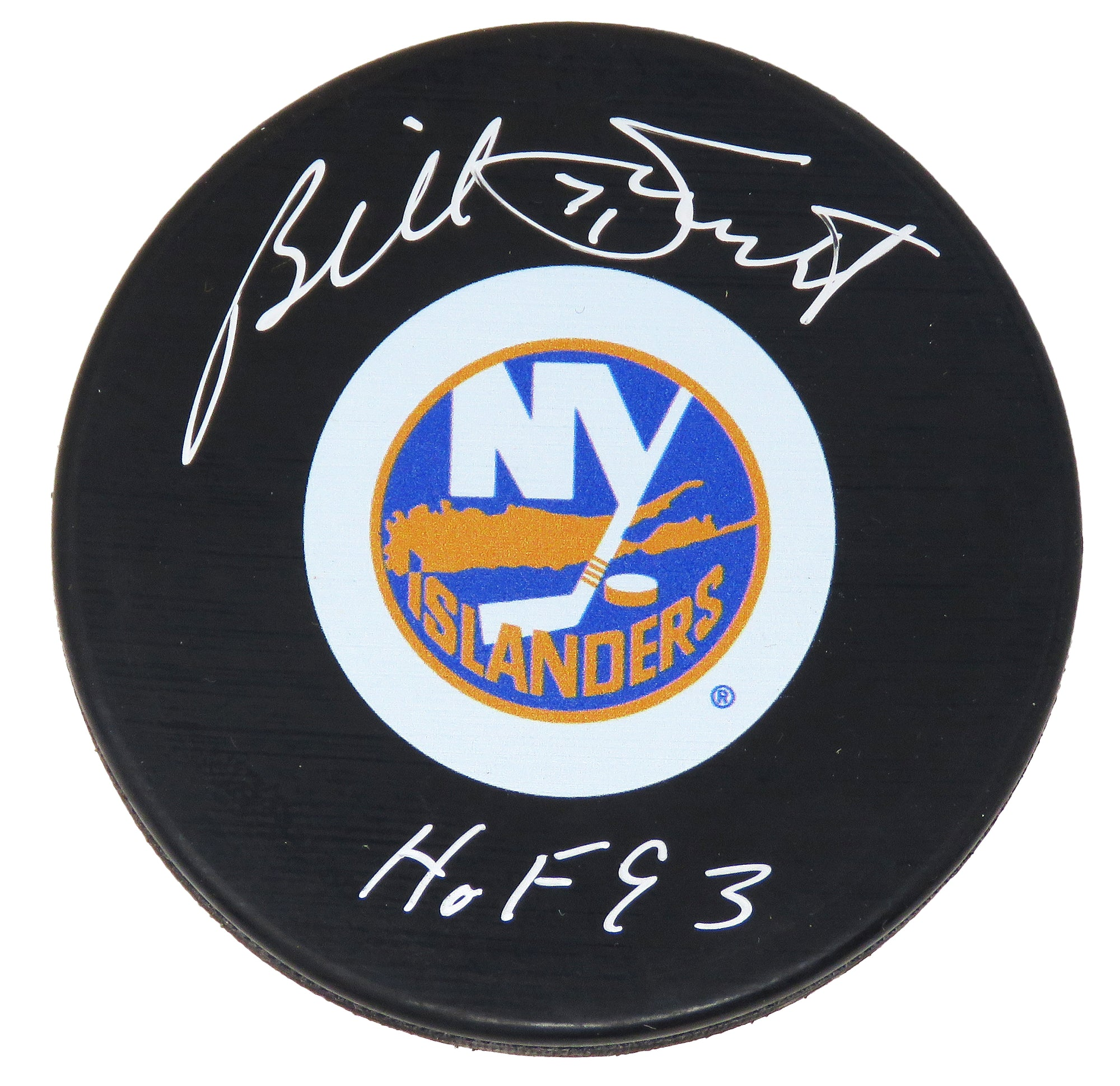 Billy Smith Signed New York Islanders Logo Hockey Puck w/HOF 93 PSM-Powers Sports Memorabilia