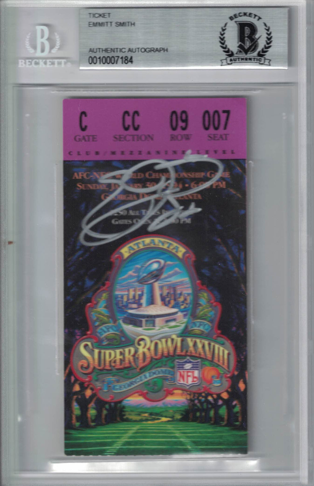 Emmitt Smith Signed Dallas Cowboys Super Bowl XXVIII Ticket BAS Slab PSM-Powers Sports Memorabilia