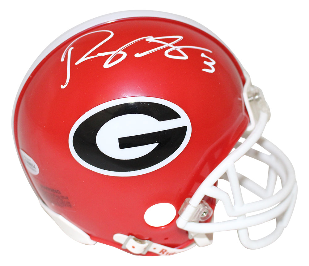 Roquan Smith Autographed/Signed Georgia Bulldogs Mini Helmet BAS PSM-Powers Sports Memorabilia