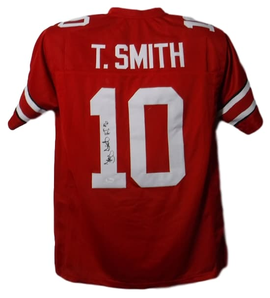 Troy Smith Autographed Ohio State Buckeyes Size XL Red Jersey H.T JSA COA-Powers Sports Memorabilia