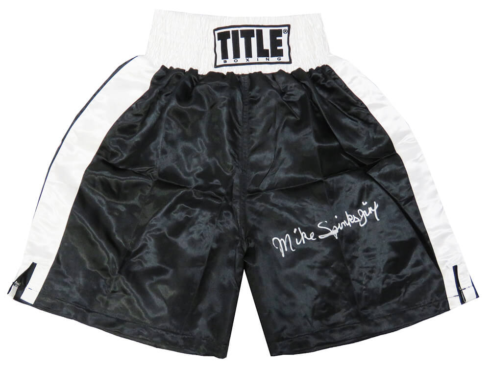 Michael (Mike) Spinks Signed Title Black With White Trim Boxing Trunks w/Jinx PSM-Powers Sports Memorabilia