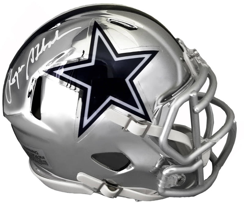 Roger Staubach Signed Dallas Cowboys Chrome Riddell Mini Helmet PSM-Powers Sports Memorabilia
