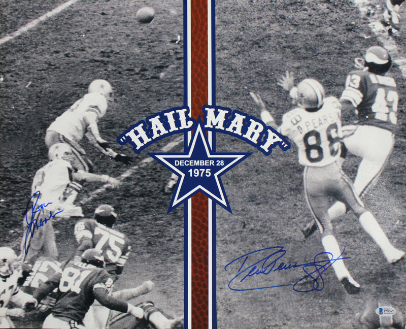 Roger Staubach & Drew Pearson Autographed Dallas Cowboys 16x20 Photo BAS PSM-Powers Sports Memorabilia